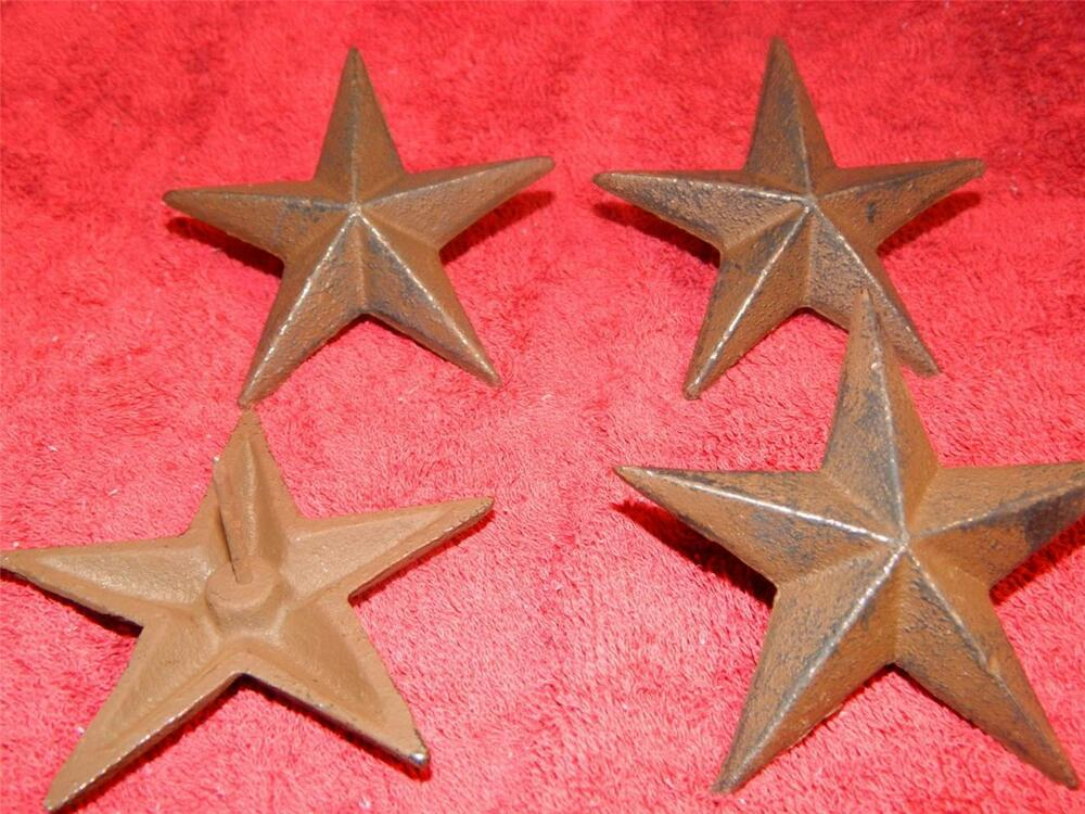 set 4 rustic 3 1 4 cast iron star nail back western wall decor fasteners ebay. Black Bedroom Furniture Sets. Home Design Ideas