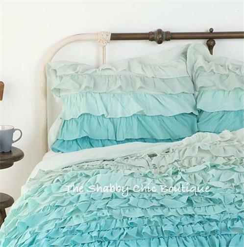 Shabby Chic Beach Pillows : Shabby Beach Cottage Chic Ruffled Queen Duvet Doona Quilt Cover & Pillow Shams eBay