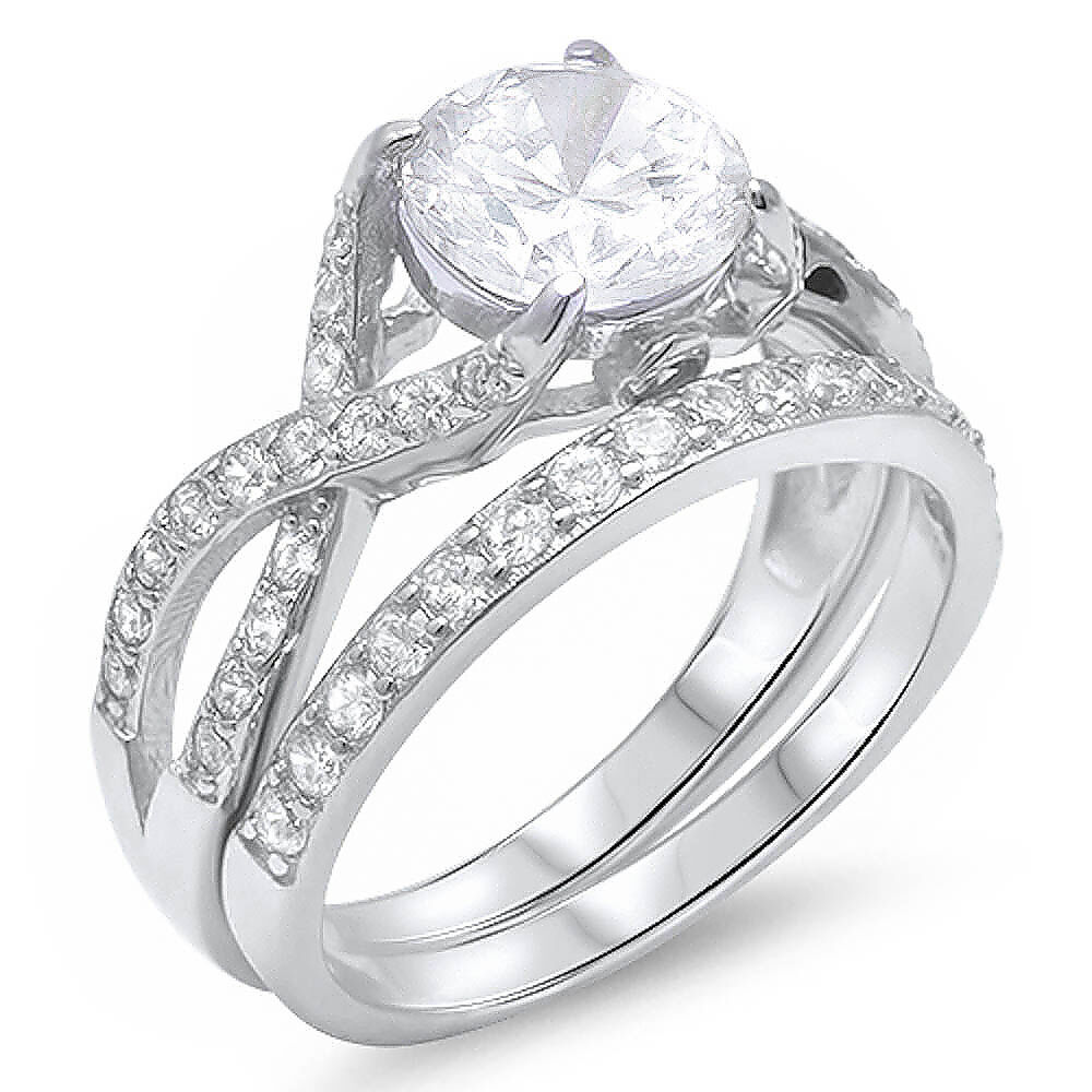 2ct Round CZ 2 Rings Engagement Set 925 Sterling Silver Ring Sizes 5 11