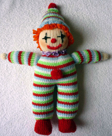 Easy Knitting Patterns Toys : CLOWN with POMPONS - 8ply easy - knitting pattern toy / doll # 21 eBay