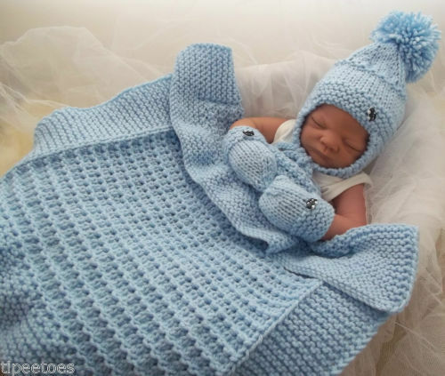 Crochet Baby Blanket Patterns Popcorn Stitch : Baby Knitting Pattern #43 TO KNIT Chunky Pram Blanket, Hat ...