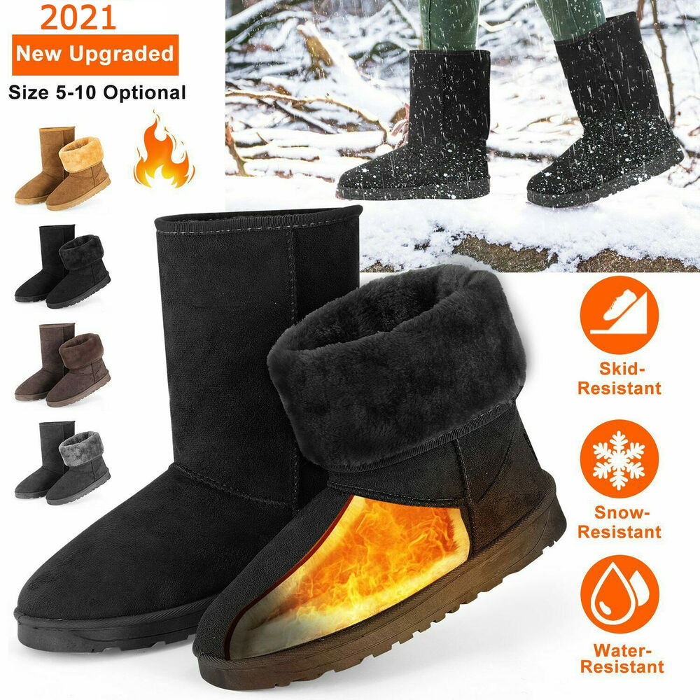 Winter Boots Women&amp039s Faux Fur Suede Mid Calf Warm Snow