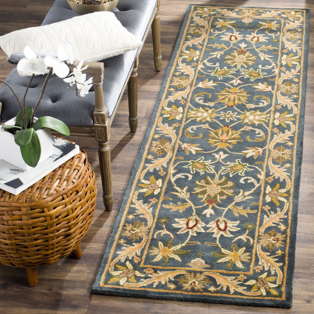 safavieh handmade exquisite blue gold wool runner 2 39 3 x 8 39 ebay. Black Bedroom Furniture Sets. Home Design Ideas