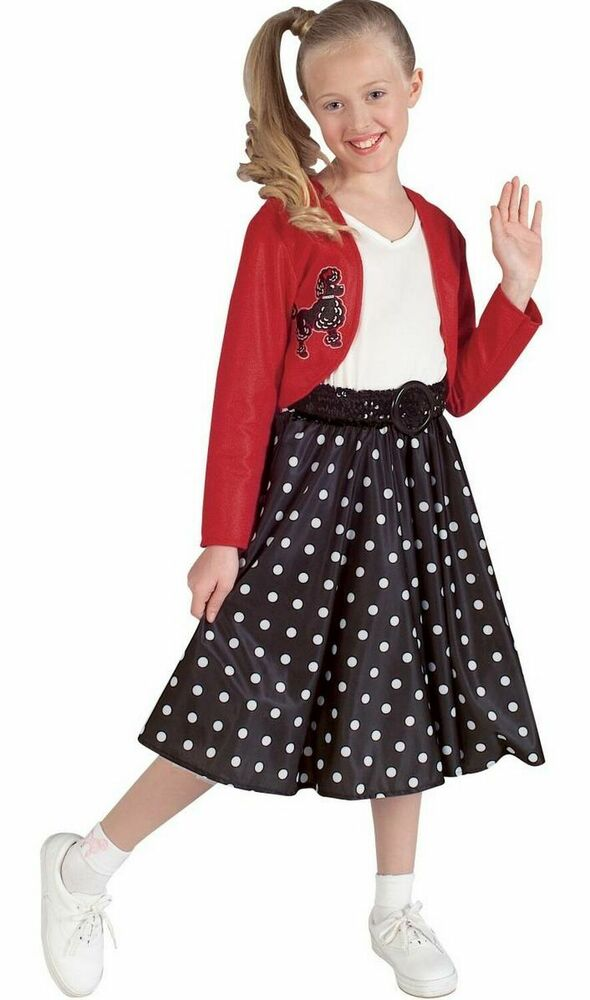 Girls 50s Costume Poodle Skirt Polka Dot Dress Jacket Belt Rocker Childrens NEW | eBay  sc 1 st  eBay & Girls 50s Costume Poodle Skirt Polka Dot Dress Jacket Belt Rocker ...