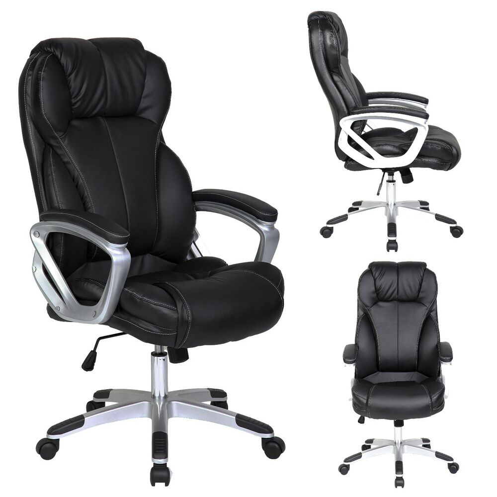 PU Leather Executive Office Chair Tilt Nylon Swivel High Back Computer Desk T