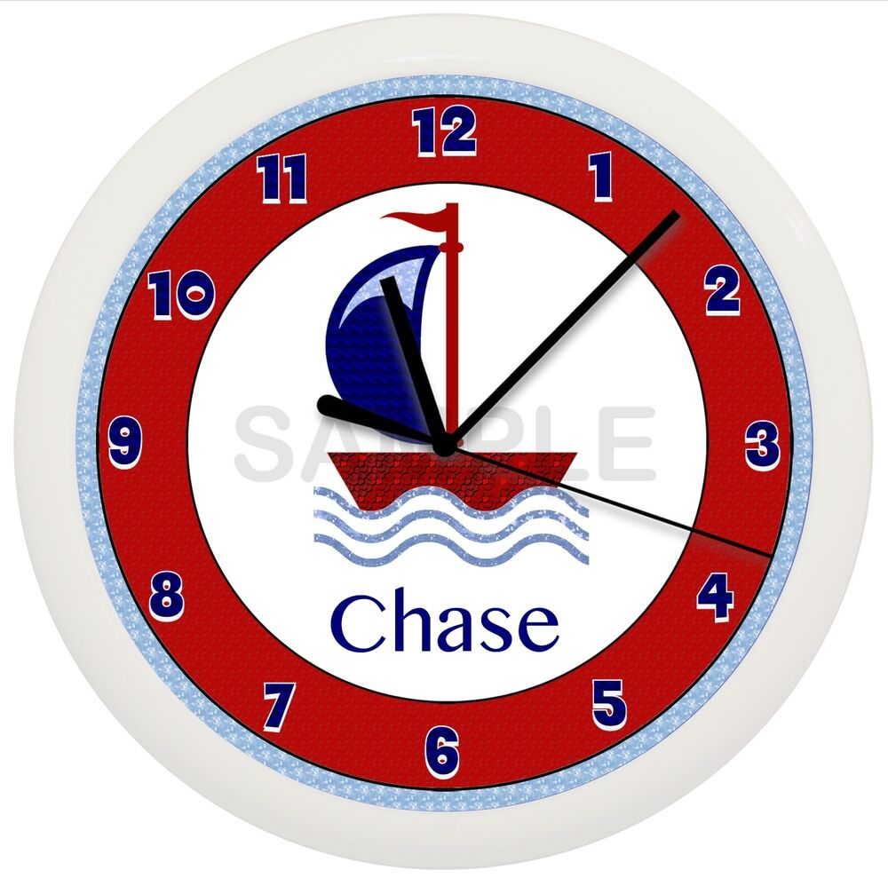 Sailboat Wall Clock Red And Blue Nursery Personalized