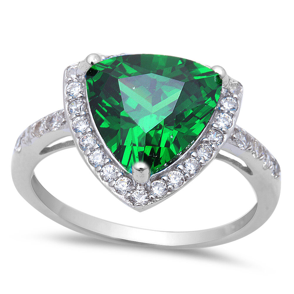 5 50ct Trillion Cut Emerald Amp Cz 925 Sterling Silver Ring