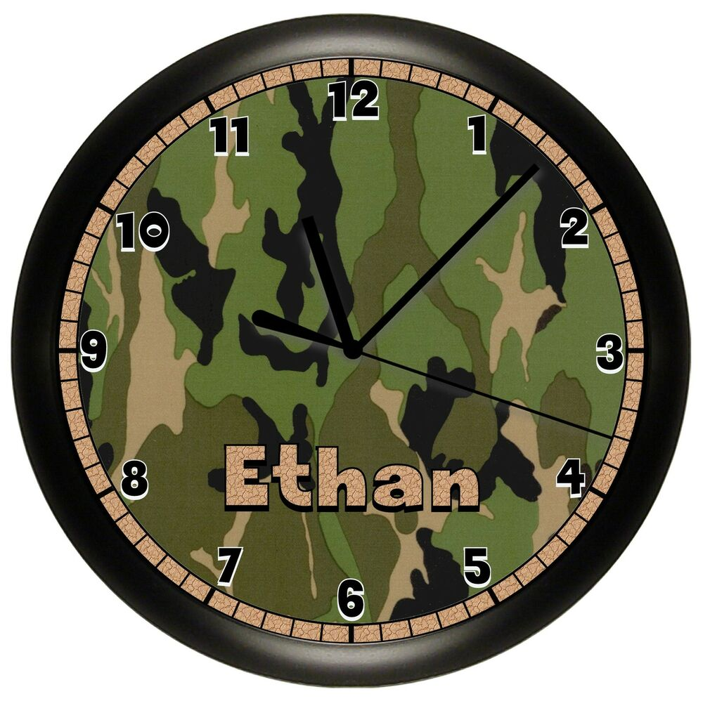 Camouflage Hunting Wall Clock Personalized Gift Hunter
