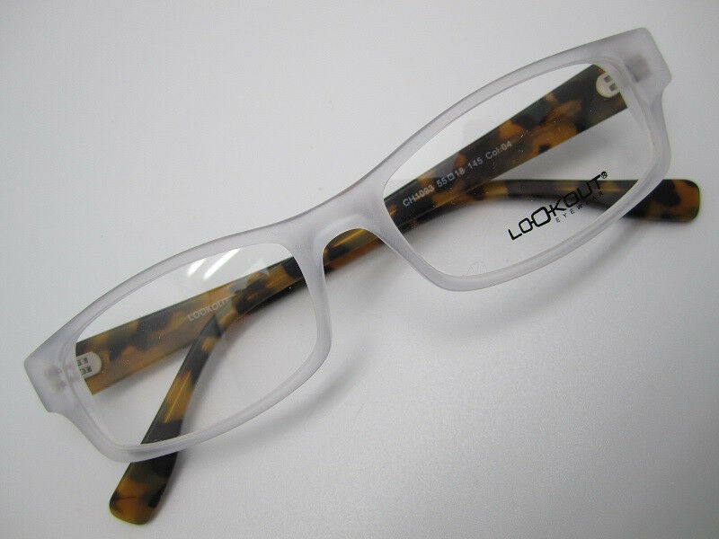large men square EYEGLASSES FRAME 55-18 matte white brown ...