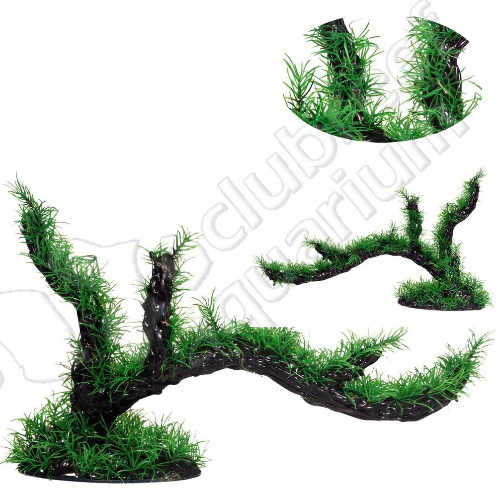Christmas moss covered tree branch resin plastic for Aquarium christmas tree decoration
