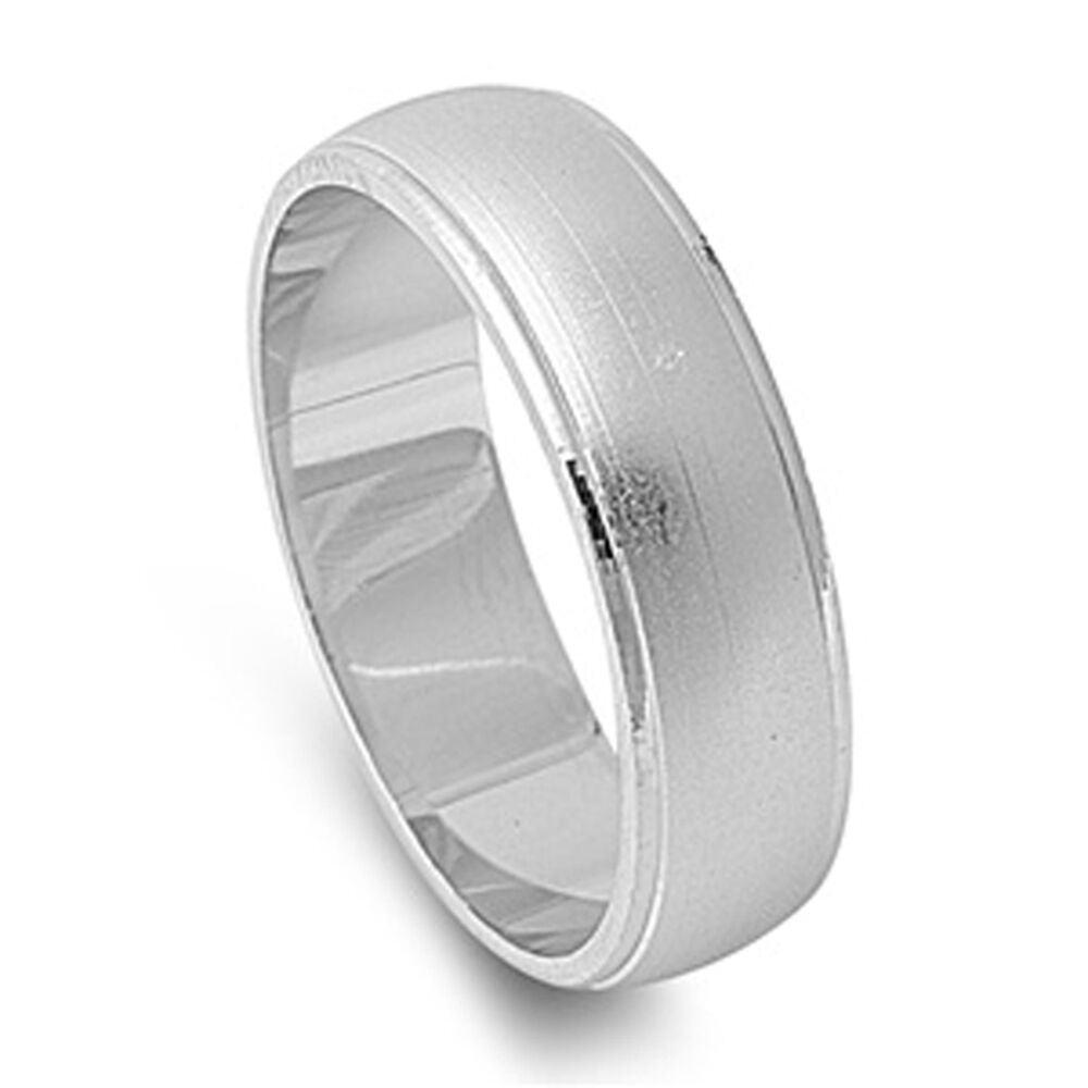 s 6mm brushed wedding band 925 sterling silver ring