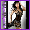 Aussie Lingerie Sexy Black Lace Babydoll Mini Dress Match G-string Size 8 10 12