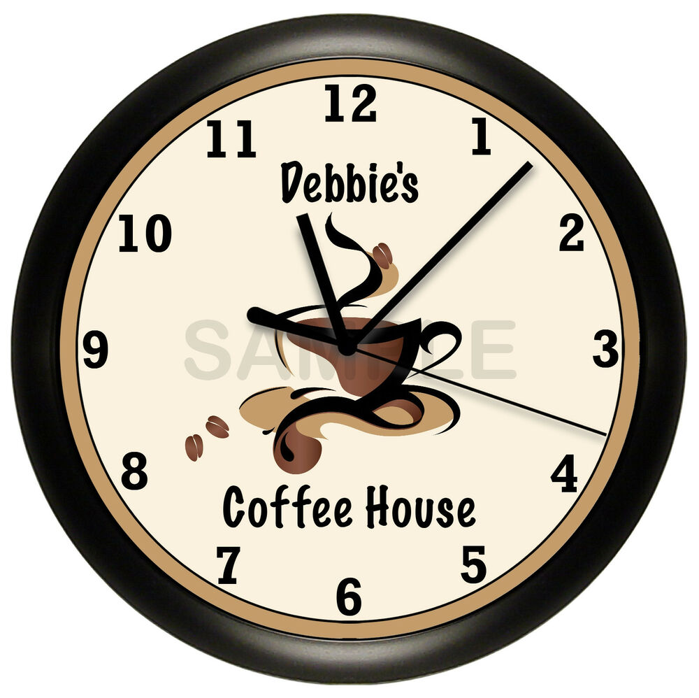 coffee house wall clock personalized gift wall decor. Black Bedroom Furniture Sets. Home Design Ideas