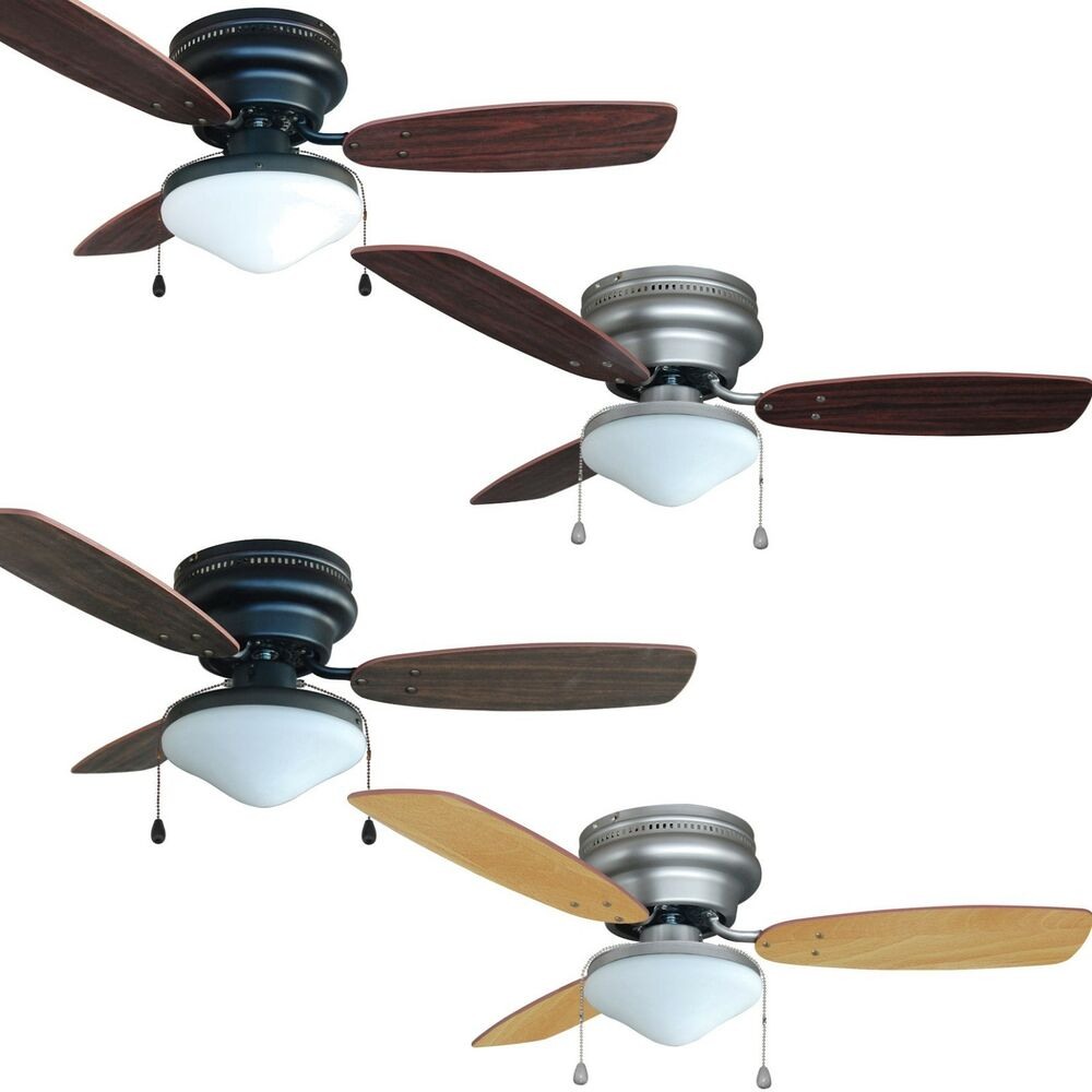 42 inch flush mount hugger 3 blade ceiling fan w light kit bronze satin nickel ebay. Black Bedroom Furniture Sets. Home Design Ideas