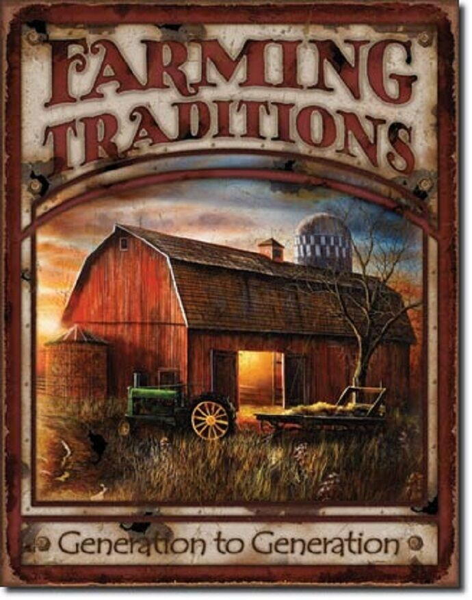Farming Traditions Tin Sign Vtg John Deere Tractor Barn