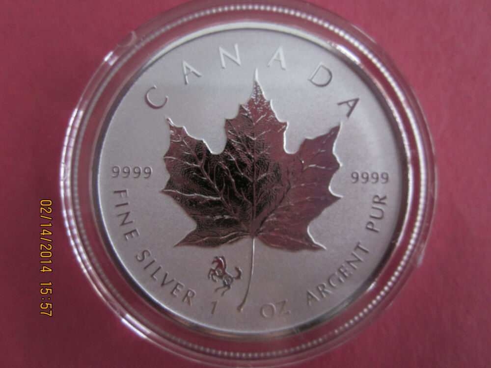 2014 1 Oz 9999 Reverse Proof Silver Canadian Maple Leaf