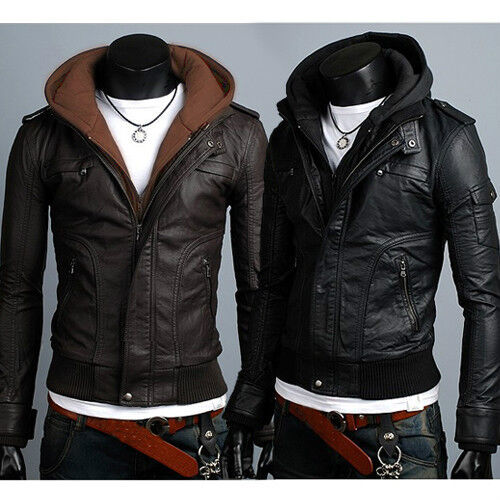 mens faux leather hooded jacket bronze cardigan
