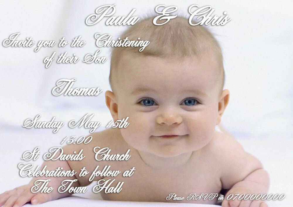 40 Personalised Christening Baptism invitations. Childrens / Baby ...