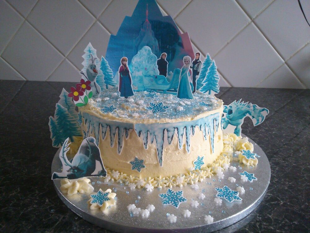 Frozen Cake Decoration Images : Disney Frozen Ice Castle Scene **WAFER** Edible Cake ...