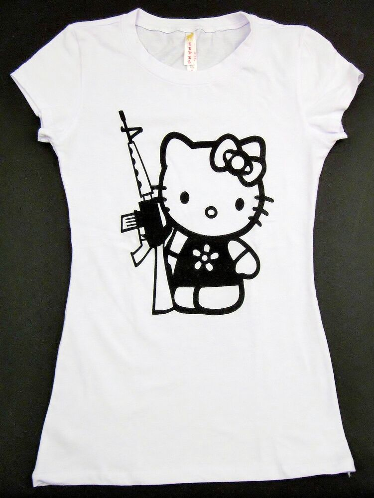 Hello kitty gun rifle t shirt kitty white anime cat for Hello kitty t shirt design
