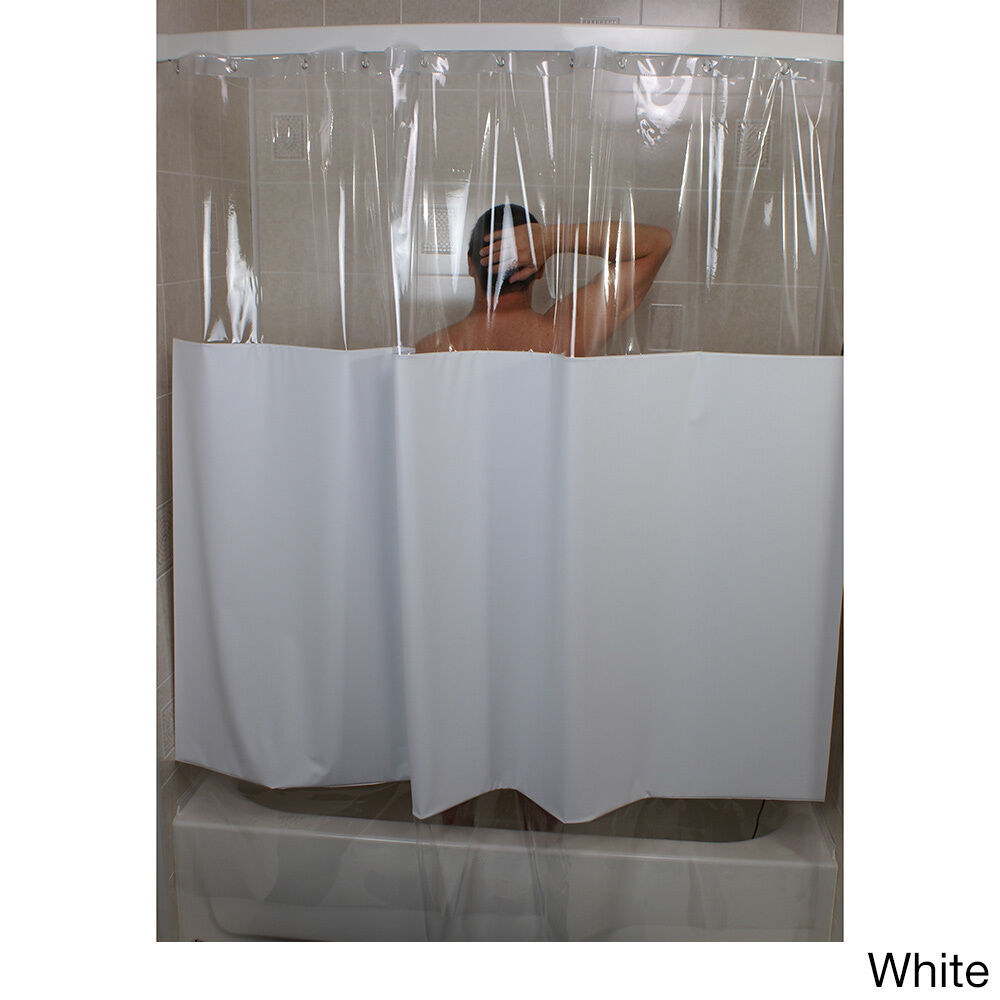 Sneakpeek Solid Color W Clear Vinyl Shower Curtain Ebay
