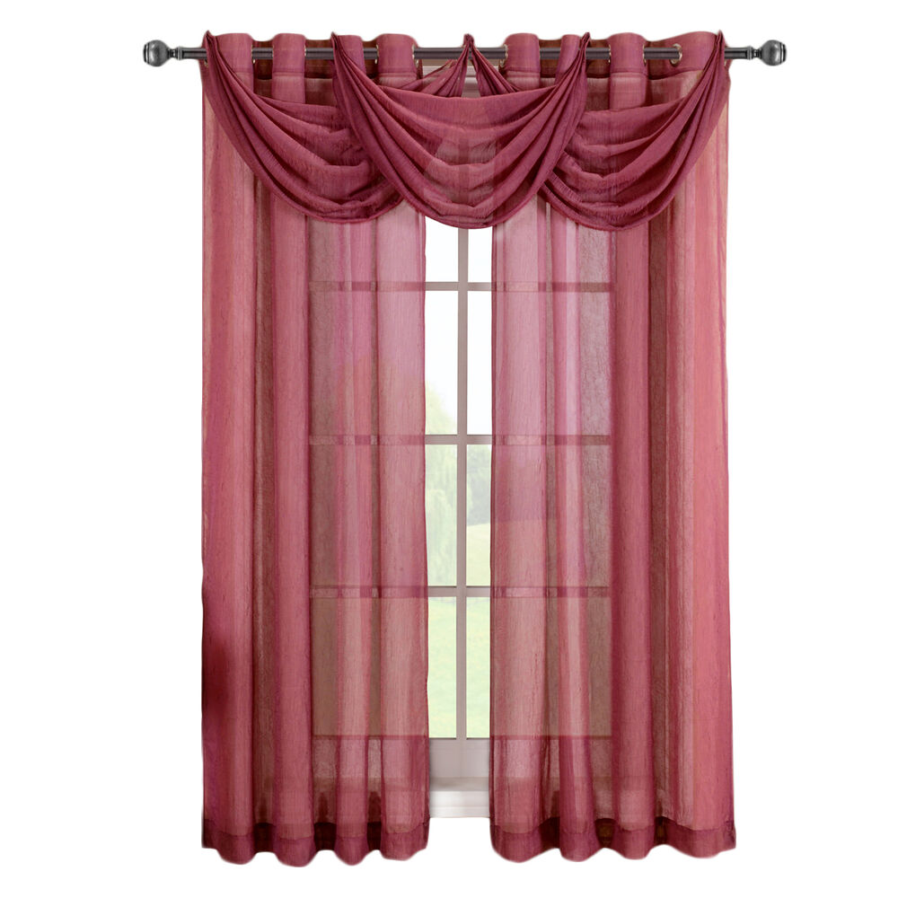 Single Burgundy Abri Grommet Crushed Sheer Window Curtain