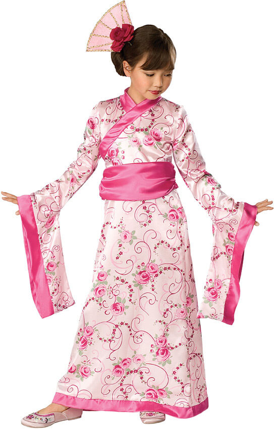 Girls Geisha Princess Kimono Costume Fancy Dress Pink Japanese S M L Childs NEW