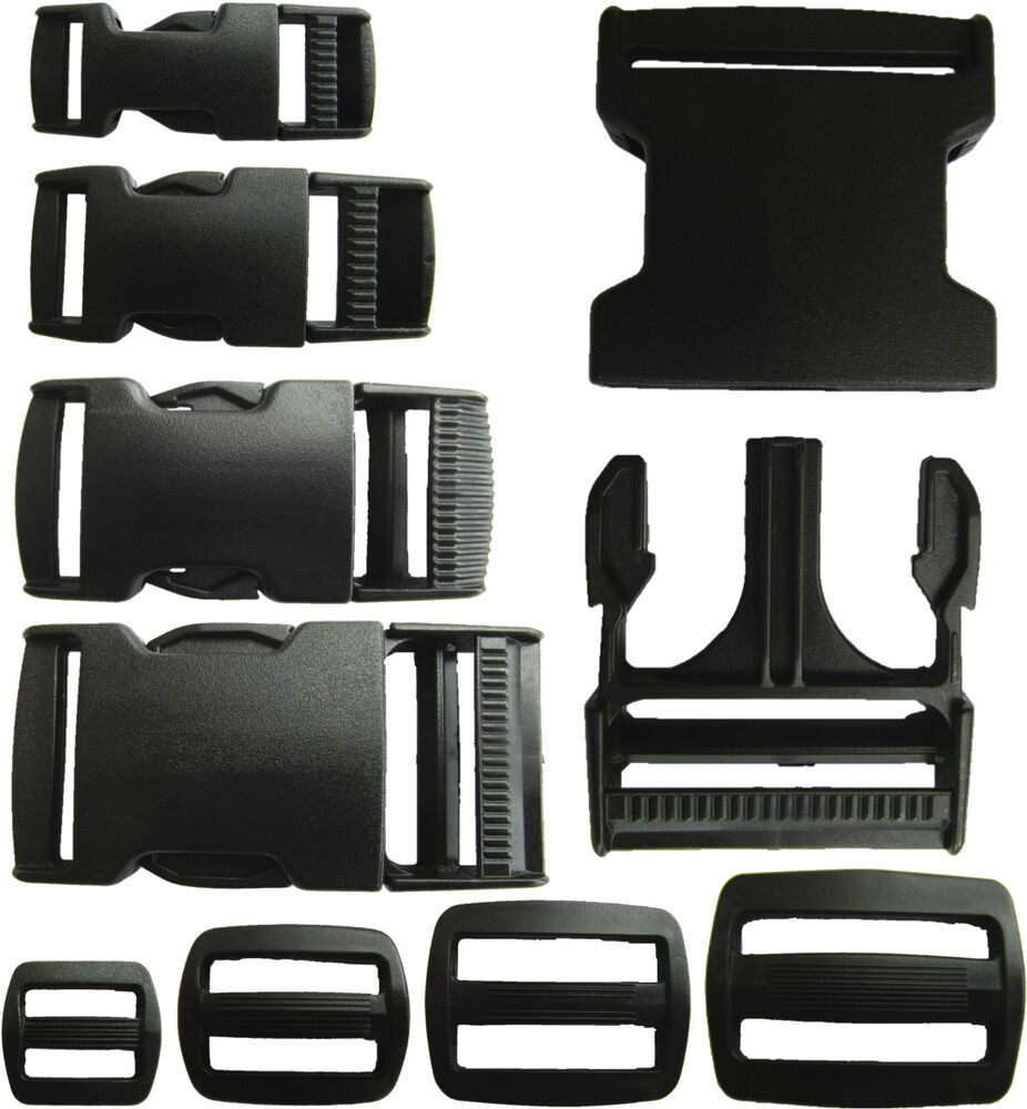 Delrin Plastic Side Release Buckle Clips Sliders For