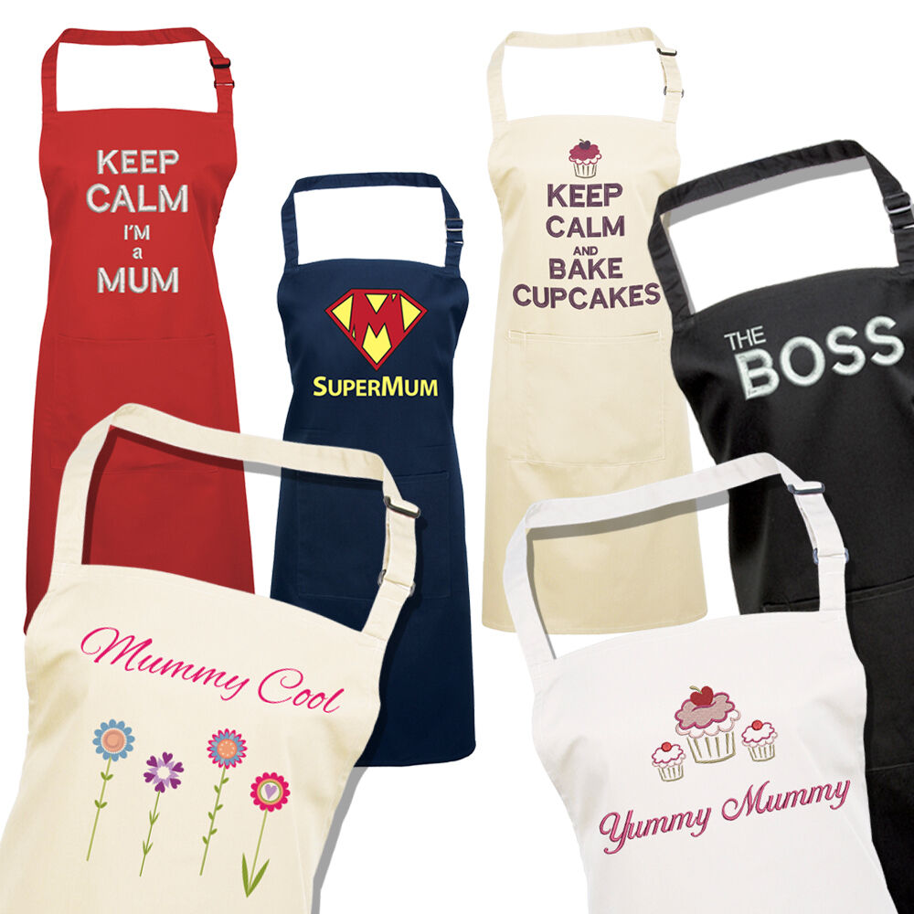 Printed & Embroidered Adult Apron, Various Colours, Funny ...