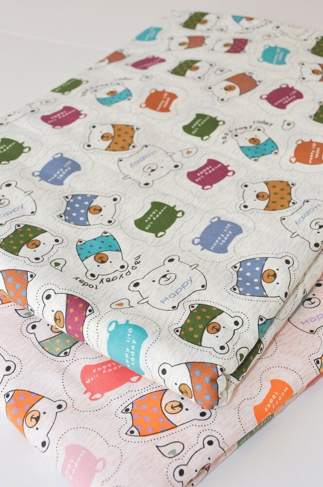 Children 39 s girls 39 pure cotton fabric cute animal pink grey for Grey childrens fabric