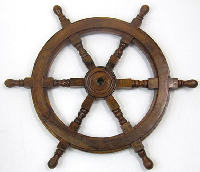 "Nautical Wheel Decor: Ship's Steering Wheel 24"" Wooden Hub Nautical Pirate Boat"