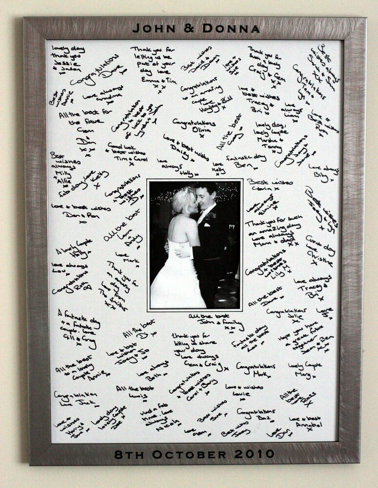 Large Engraved Framed Guest Signing Board Wedding Guest