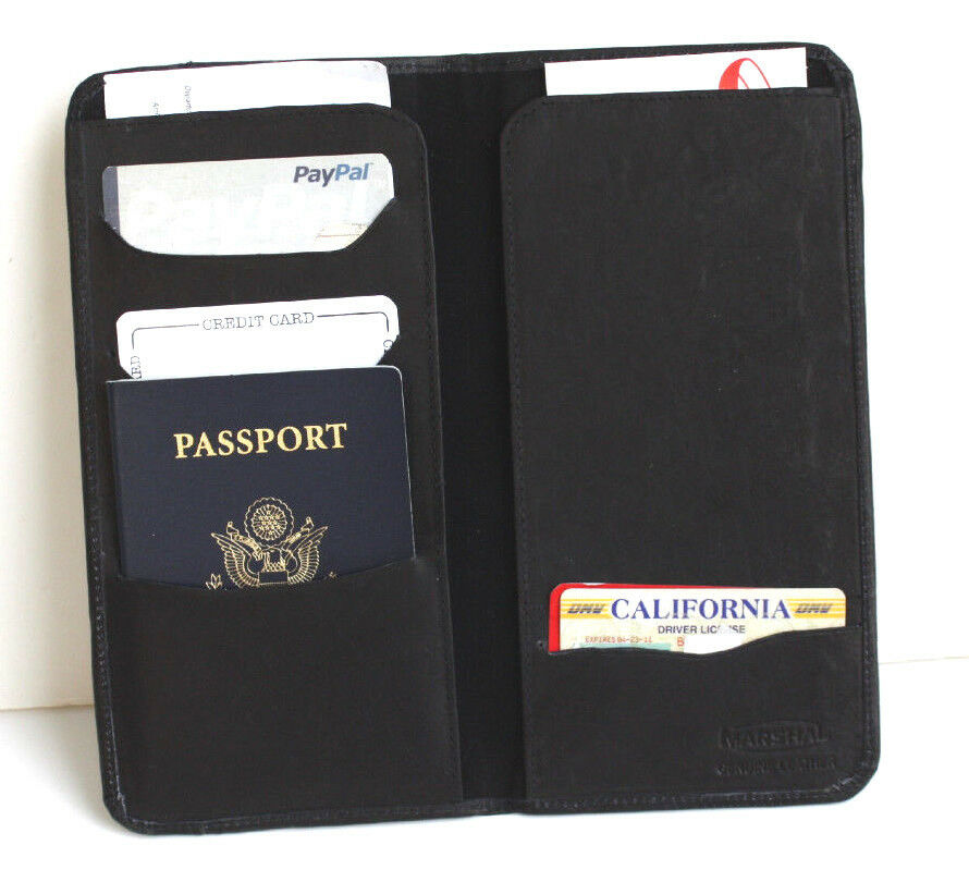 100 Leather Wallet Passport Cover Id Boarding Pass Holder Travel Organizer Nice Ebay