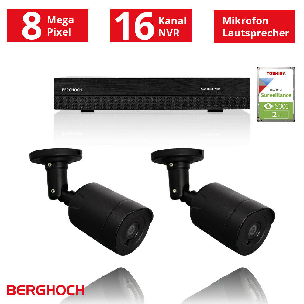 video berwachung set hd 1080p poe 2x aussen berwachungskamera 2 tb festplatte ebay. Black Bedroom Furniture Sets. Home Design Ideas