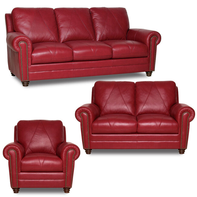 New Luke Leather Weston Cherry Red 3 Piece Set Sofa Loveseat Chair Free Ship Ebay