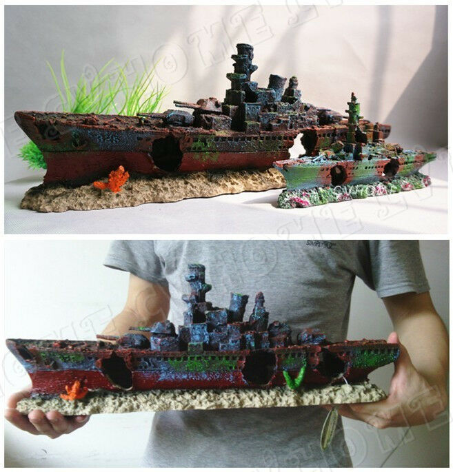 Aquarium ornament destroyer navy battleship shipwreck fish for Aquarium cave decoration