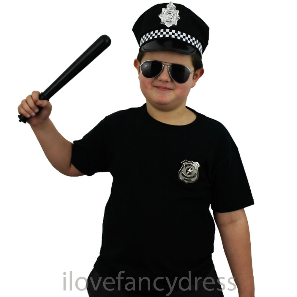 child police hat kids cop fancy dress panda cap officer