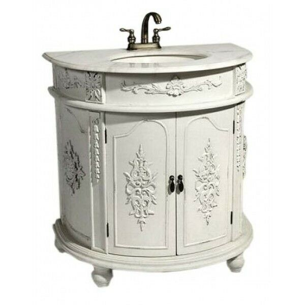 ANTIQUE WHITE SHABBY CHIC FRENCH BATHROOM VANITY UNIT SINK DRAWERS EBay