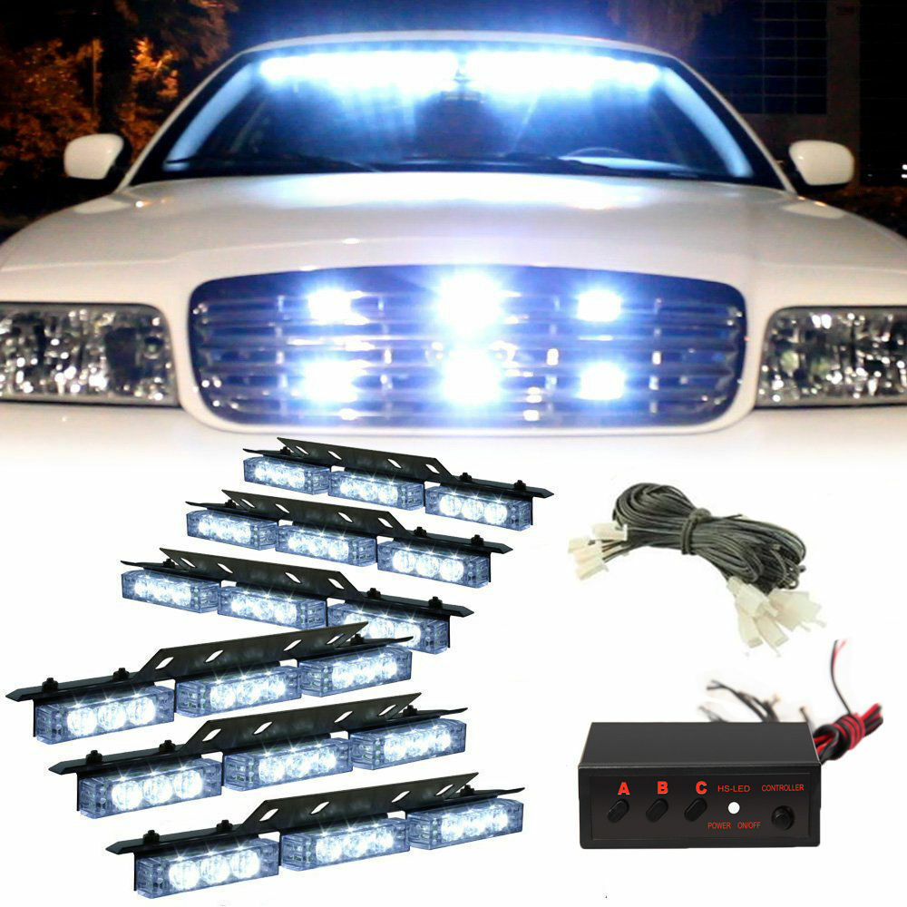 54 white led emergency truck strobe flash light warning. Black Bedroom Furniture Sets. Home Design Ideas