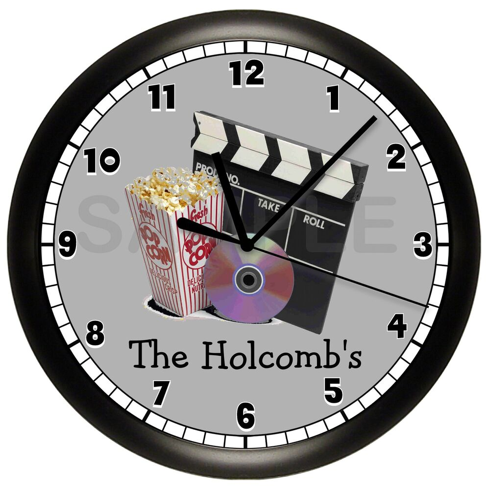 home theater wall clock personalized gift movie night rec