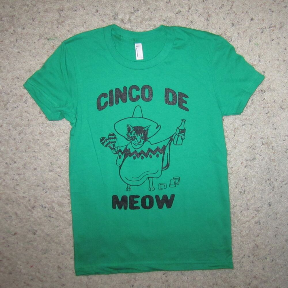 womens cinco de meow cat mayo kitten funny party fiesta cute mexican tee t shirt ebay. Black Bedroom Furniture Sets. Home Design Ideas