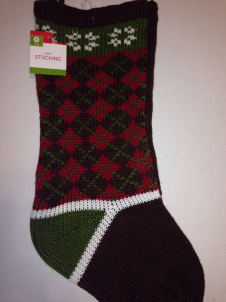 Christmas Holiday Stocking Argyle Pattern Knit Brown Red