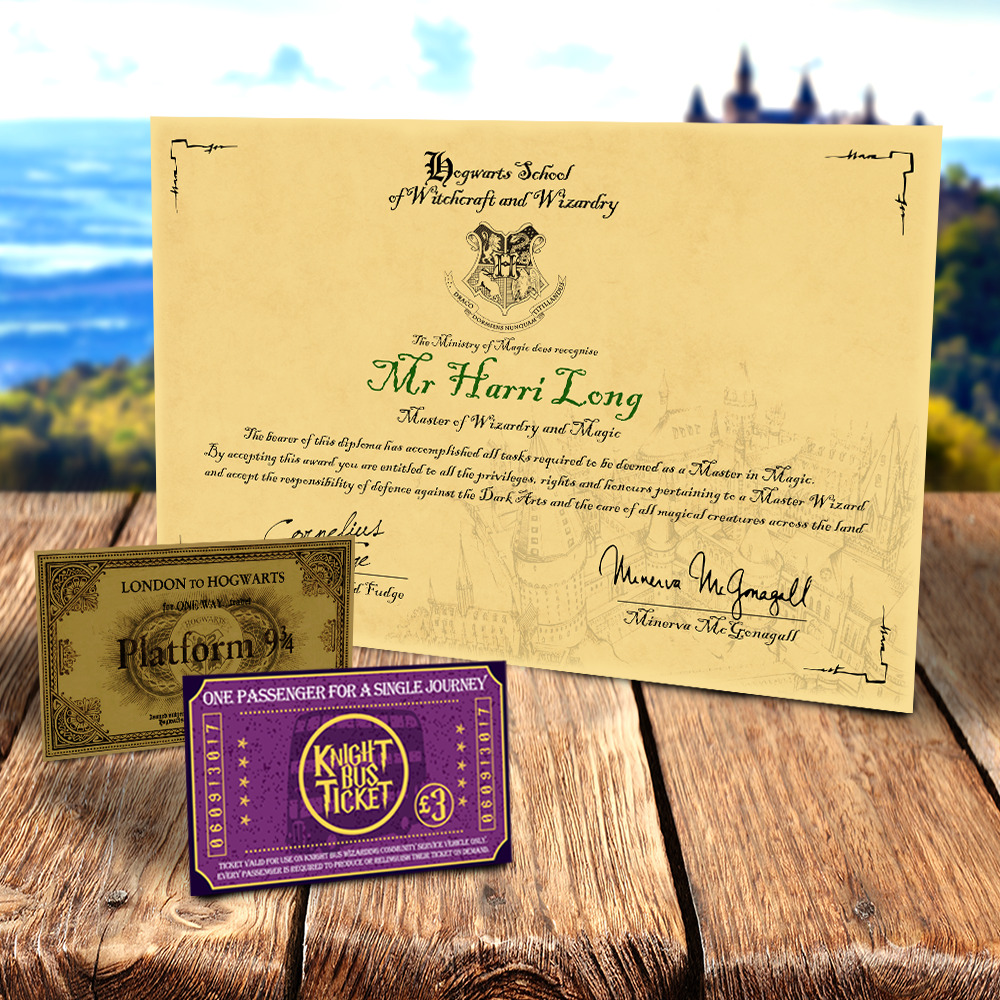harry potter hogwarts diploma certificate any name ideal for any witch or wizard ebay
