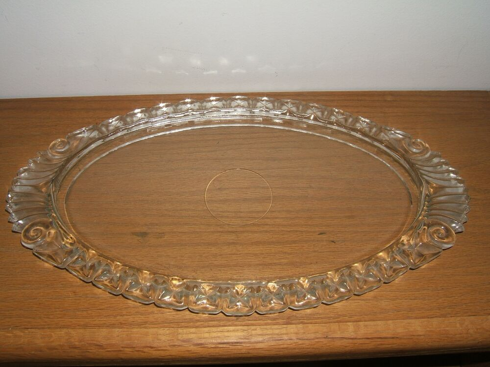 Vintage Glass Decorative Surround Vanity Tray Beautiful