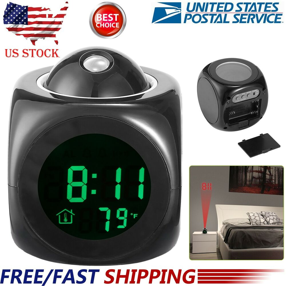 Alarm Clock Led Wall Ceiling Projection Lcd Digital Talking Temperature 609207974970