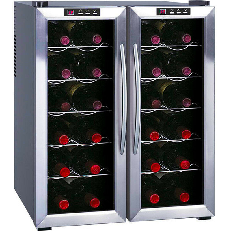 dual zone wine refrigerator w ss silver french cooler doors compact chiller ebay. Black Bedroom Furniture Sets. Home Design Ideas