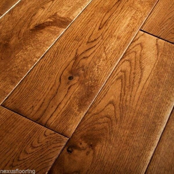 18mm x 125mm Hand Scraped Tobacco Oak Solid Flooring Real ...