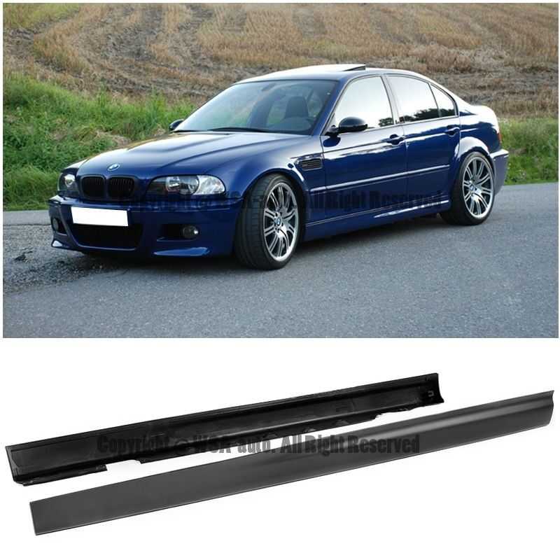 for 99 05 bmw e46 3 series sedan 4dr m3 style side skirts rocker panel bodykit ebay. Black Bedroom Furniture Sets. Home Design Ideas