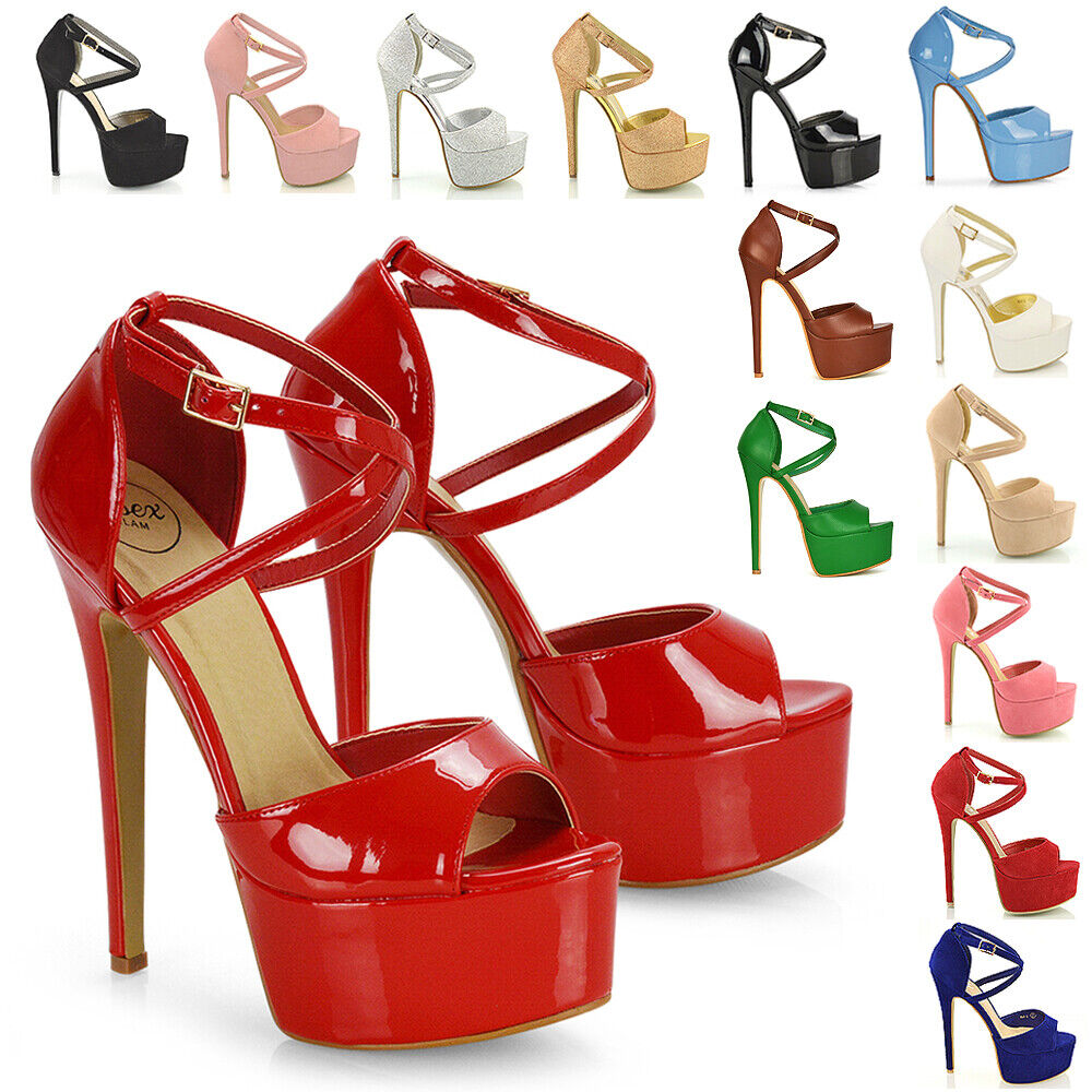 WOMENS PEEP TOE STRAPPY PLATFORM STILETTO LADIES HIGH HEEL SANDAL ...