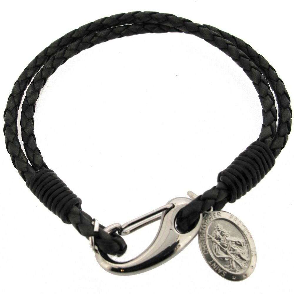 Leather Wrap Bracelet With Charms: Mens Leather Wrap Bracelet & Engrave 925 Sterling Silver